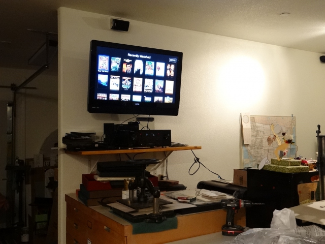 "37"" TV mounted on the wall"