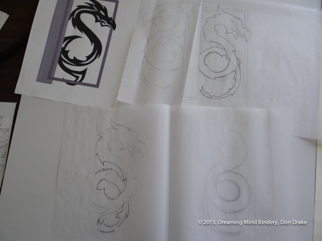 Preliminary sketches of a dragon design to be used in a copper journal cover.