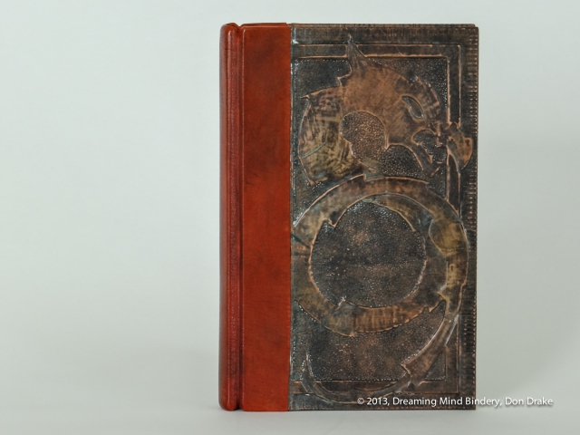 My customer bought her son a copper journal in Ireland, and it was filling up. She liked the material but wasn't prepared to travel 5000 miles for a duplicate. This one took me back to a technique I hadn't done since my childhood. And I'm looking forward