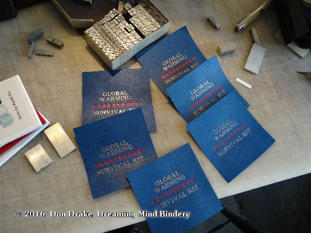 Labels after foil stamping for Don Drake's editions 'Global Warming Survival Kit'