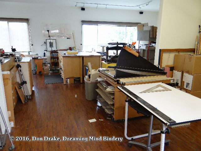 An interior shot of Dreaming Mind Studio after cleaning up enough to start a new project