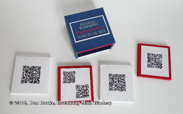 "Don Drake's miniature book ""Global Warming Survival Kit""; QR code content"