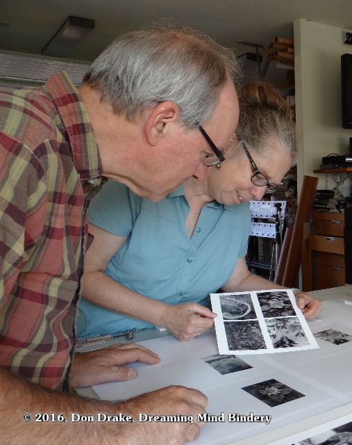 Kate Jordahl and Don Drake check the proofs for the books 5 & 6 of their One Poem Series collaboration