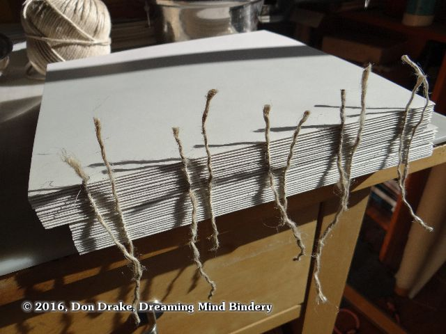Two books sewn on cords showing the spines before any finish work has been done