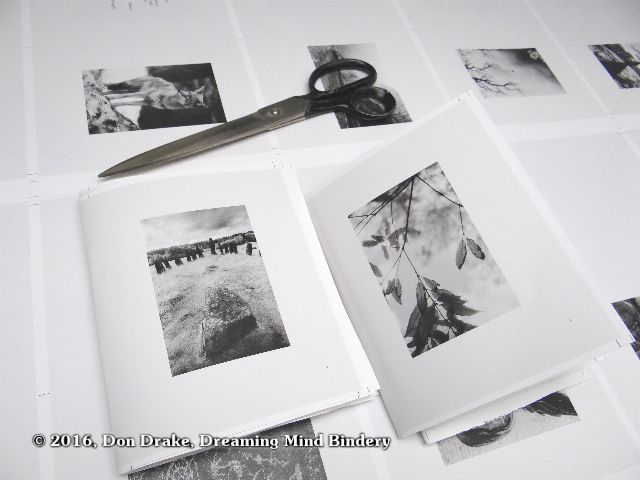 Rough assembly of One Poem Books 5 & 6 from a press sheet to confirm proper imposition before approving the press run.