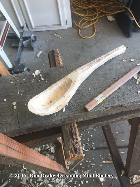 Carving a spoon