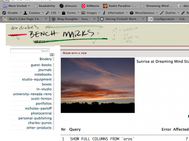 Testing a version of Don Drake's Bench Mark blog banner design on a rough page.