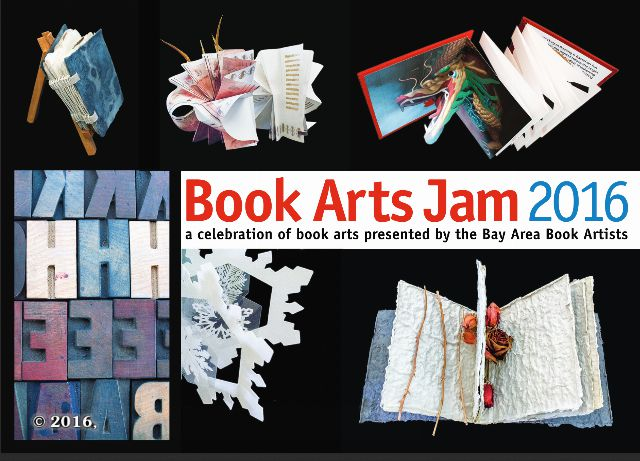 Front side of the 2016 Book Arts Jam announcement post card