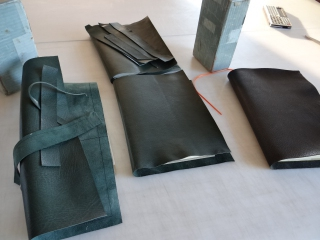Prepared leather for several books