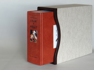 A custom leather rebinding of The Complete Calvin and Hobbes including a slipcase with leather trim