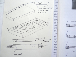 Preliminary design sketch for a jig to facilitate drilling book blocks for Japanese stab bindings