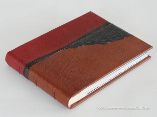 Don Drake's binding of the Bay Area Book Artists' (BABA) collaborative project, AlphaBeastiary, showing the goat, snake, and alligator leather.