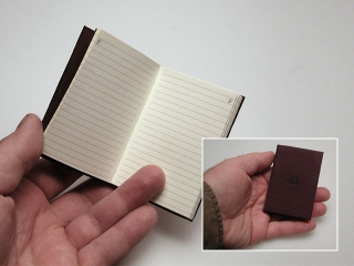 A pocket sized address book covered in goat.