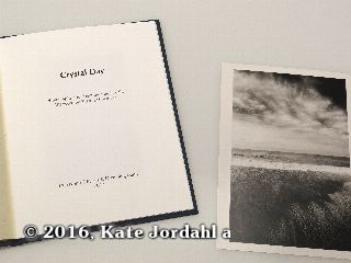 The title page and silver gelatin print included in the hard bound version of Kate Jordahl's and Don Drake's One Poem Book, Crystal Day