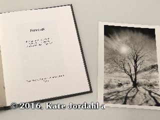 The title page and silver gelatin print included in the hard bound version of Kate Jordahl's and Don Drake's One Poem Book, Forecast